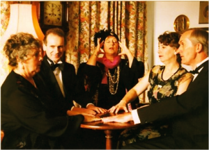 Blithe Spirit by Noel Coward at The Playhouse, Cheltenham in November 1998.  Pauline Bowskill, as Madame Arcati won Best Actress and the play was second runner up in the Best Play category.
