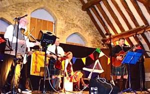 Traditional music played by Alistair the piper, Alasdair the fiddler, Dave on guitar, Tony on bass and vocalist Gillie.